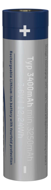 Li-Ion battery 18650 3400 mAh with Micro-USB charging socket