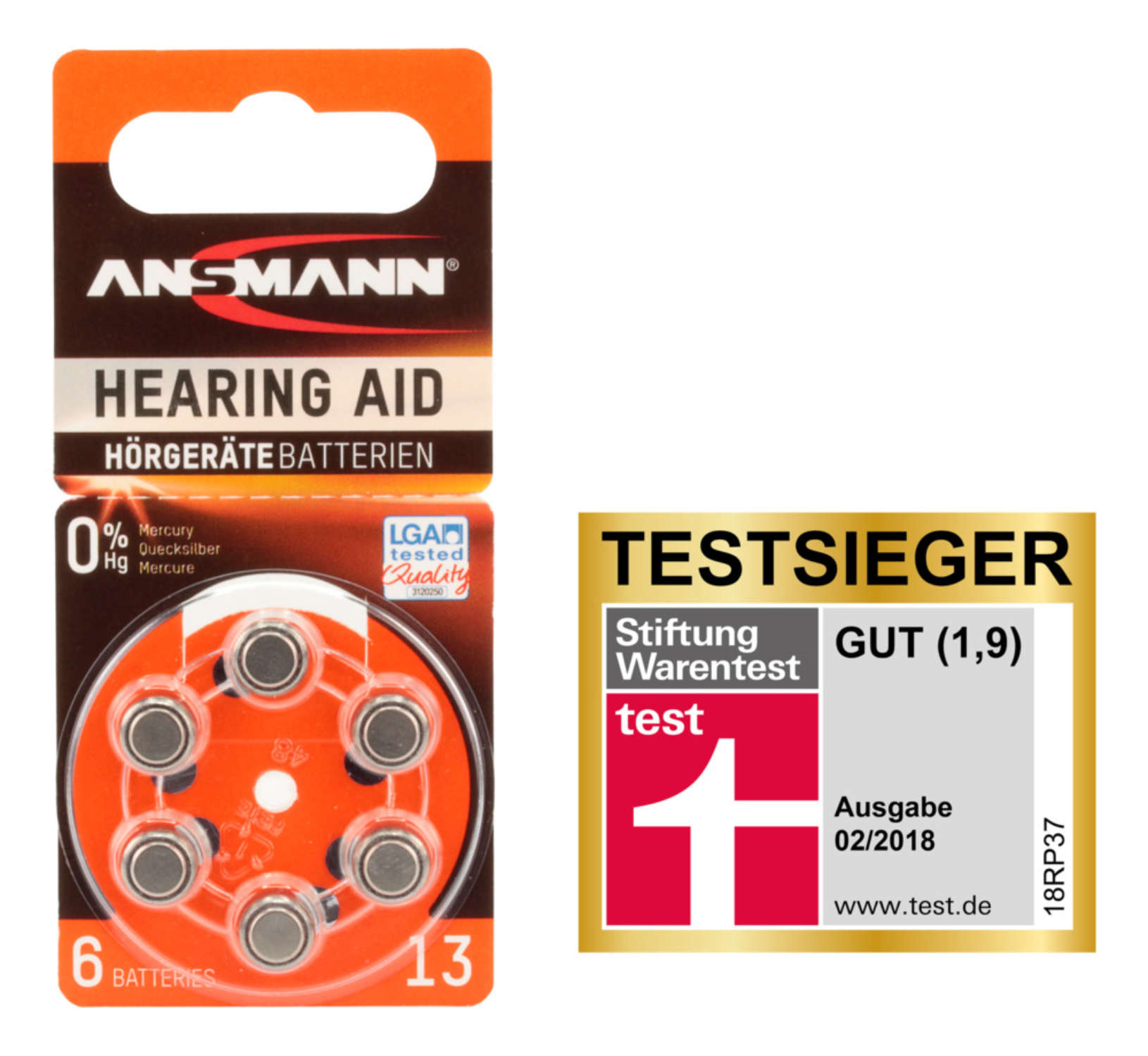 Hearing Aid batteries Type 13 / PR48