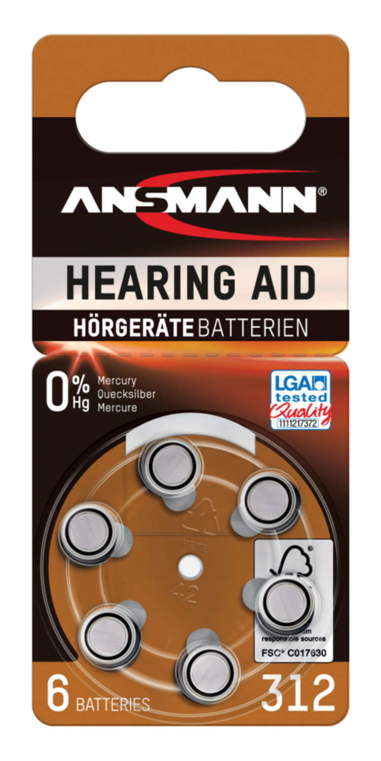 Hearing Aid batteries Type 312 / PR41