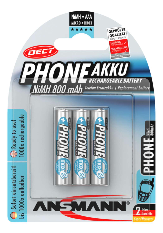 Dect NiMH Akku Micro AAA 800 mAh maxE 3er Blister