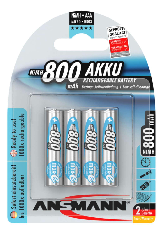 NiMH Akku Micro AAA 800 mAh maxE 4er Blister