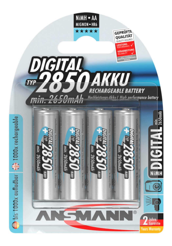Digital NiMH Akku Mignon AA Typ 2850 (min. 2650 mAh) 4er Blister