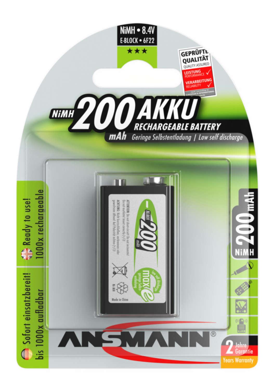 NiMH Akku 9V E-Block 200 mAh maxE 1er Blister