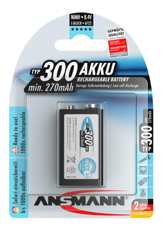 NiMH Rechargeable battery 9V block / 6F22 Typ 300 (min. 270 mAh) maxE 1 pcs.
