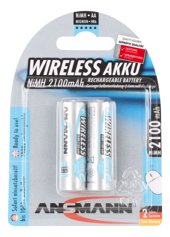 Wireless NiMH Rechargeable battery AA / HR6 2100 mAh maxE 2 pcs.