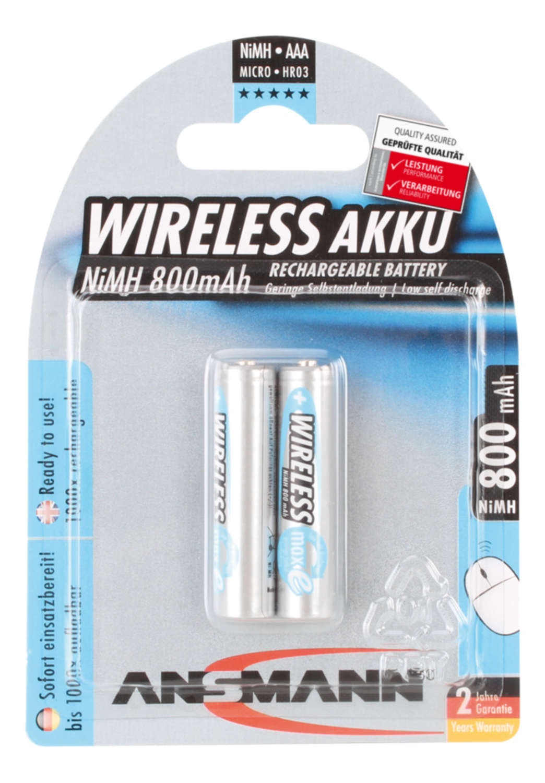 Wireless NiMH Rechargeable battery AAA / HR03 800 mAh maxE 2 pcs.