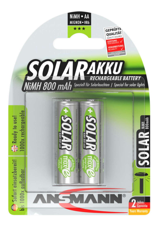 Solar NiMH Akku Mignon AA 800 mAh maxE 2er Blister