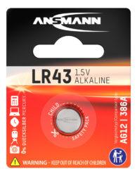 alkaliset Knopfzelle LR43 / LR1142 / AG12