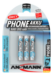 Dect NiMH Rechargeable battery AAA / HR03 800 mAh maxE 3 pcs.
