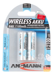 Wireless NiMH Rechargeable battery AA / HR6 2100 mAh maxE 2 pcs.