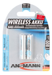 Wireless NiMH Rechargeable battery AAA / HR03 800 mAh maxE 2 pcs.