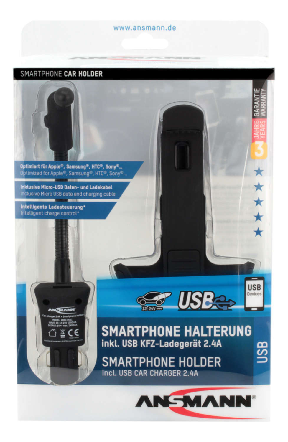 USB in-car 2.4A charger with smartphone holder