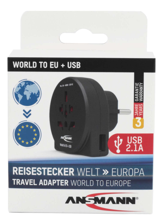 Reisestecker 'World to EU + USB'