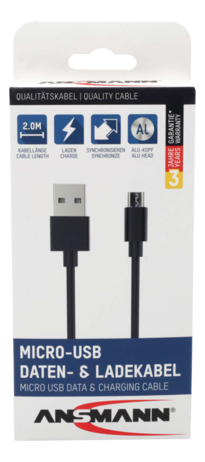 Micro-USB data and charging cable 200 cm