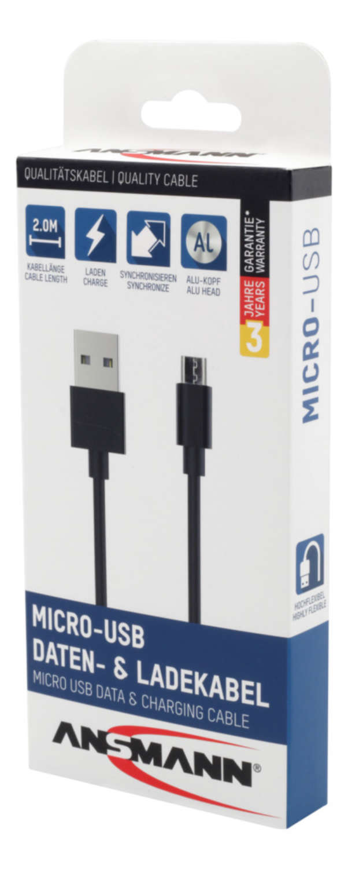 Micro-USB Daten- und Ladekabel 200 cm