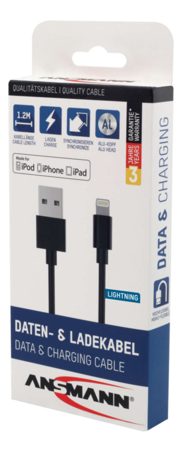 Lightning Data and Charging Cable 120 cm