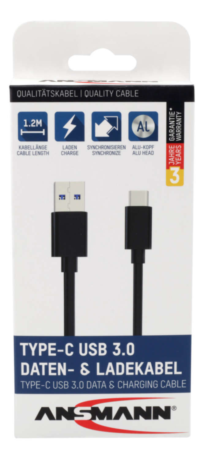 Type-C USB data and charging cable 120 cm