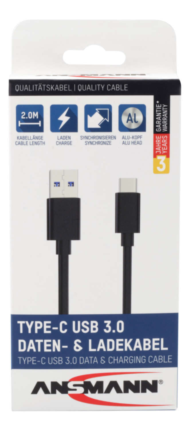 Type-C USB data and charging cable 200 cm