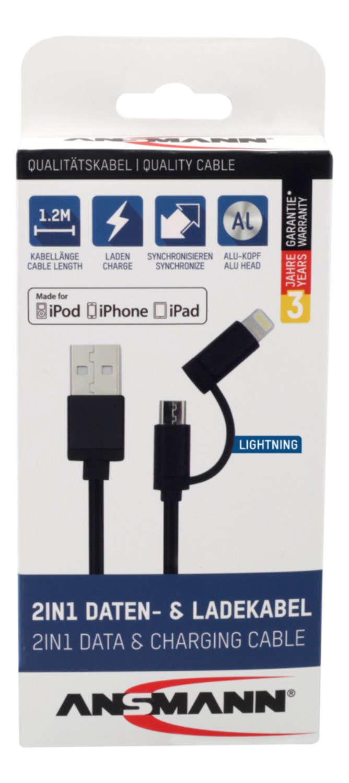 USB 2in1 Micro/Lightning Daten und Ladekabel 120 cm