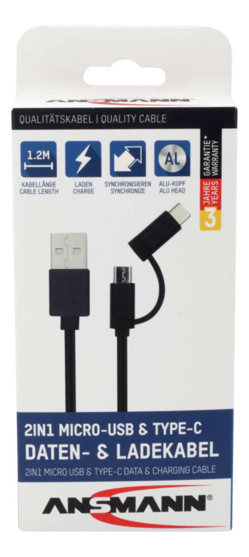 USB 2in1 Micro/Type-C Daten und Ladekabel 120 cm