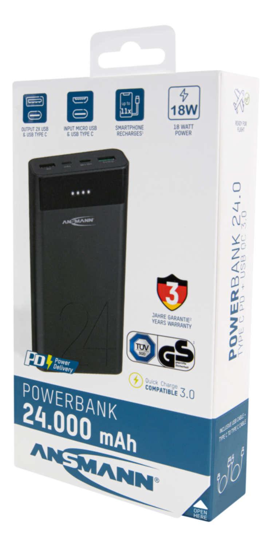 Banque de puissance 24Ah type C 18W PD