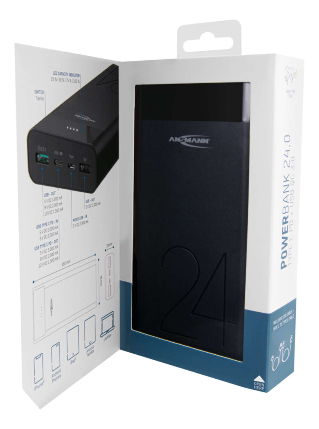 Powerbank 24Ah Type-C 18W PD